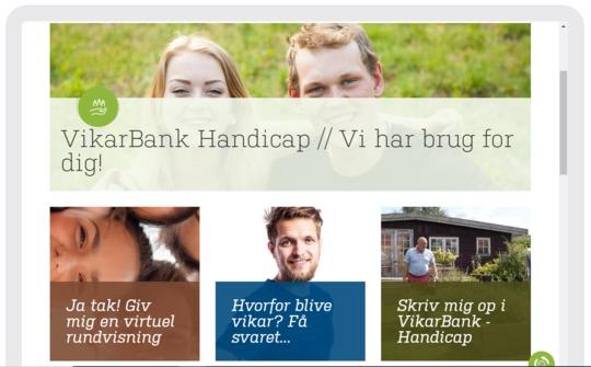 Forsiden af den digitale vikarbank på handicapområdet