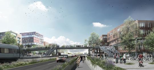 Visualisering af Hærvejsbroen. Visualisering: Cubo Arkitekter A/S