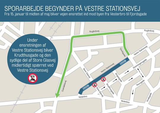 Vestre Stationsvej ensrettes frem til maj 2019, mens der lægges letbaneskinner på strækningen