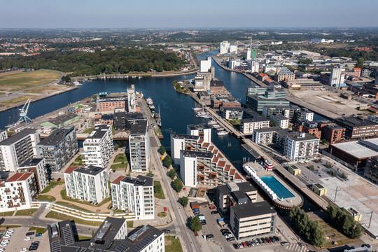 Dronebillede af Odense Inderhavn