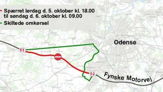 Den fynske motorvej er spærret mellem afkørsel 52 og 53 fra lørdag til søndag