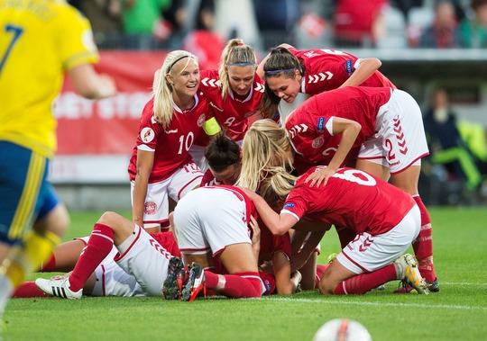 Den, der vinder auktionen, kan forhåbentlig se jubelscener som disse fra EM-kvalifikationskampen mod Sverige på Energi Viborg Arena i september 2016.