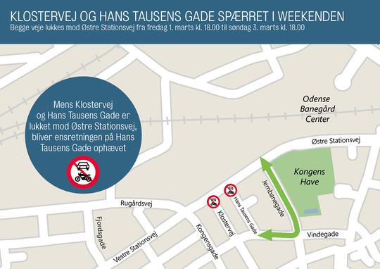 Klostervej og Hans Tausens Gade lukkes af ud mod Østre Stationsvej denne weekend.