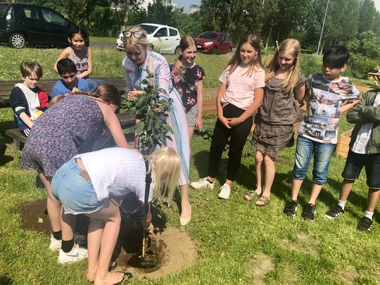 Susanne Crawley Larsen og børn fra Risingskolen planter træ