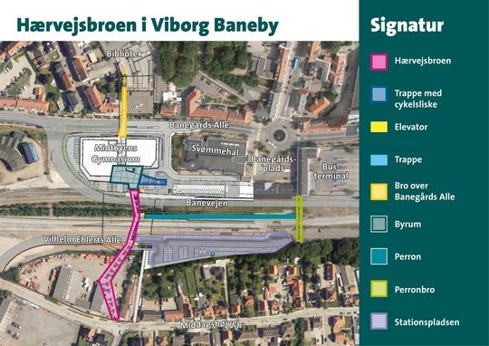 Kort over Hærvejsbroen. Illustration: Viborg Kommune.