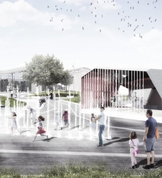 Billedtekst: Visualisering af den nye Niels Due Jensens Plads. Illustration: Labland Architects.