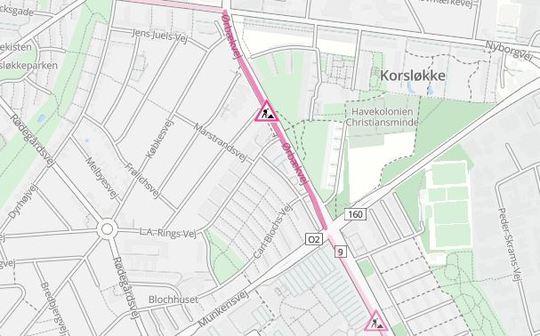 Ørbækvej er indsnævret til ét spor i sydgående retning på strækningen mellem Nyborgvej og Munkerisvej