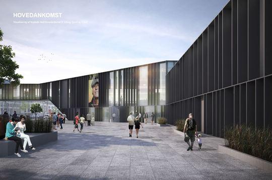 PF Arkitekters visualisering skitserer ankomstområdet efter ombygningen.