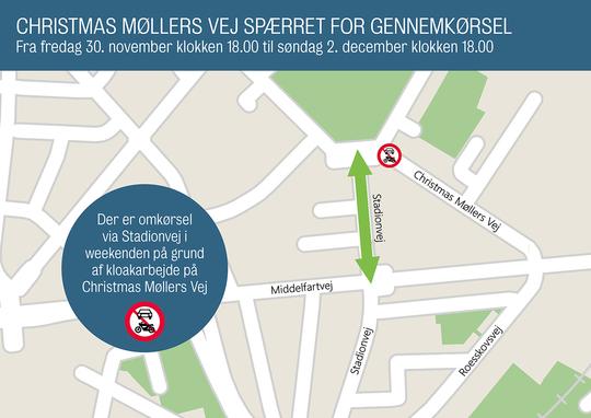 Christmas Møllers Vej spærret for gennemkørseli weekenden