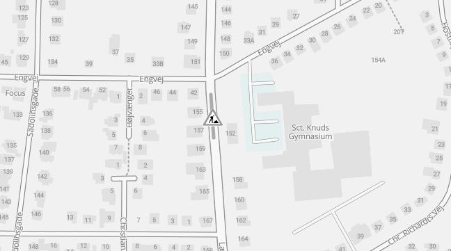 Fjernvarmearbejde på Læssøegade ud for Sct. Knuds Gymnasium - trafikken afvikles med prioritering