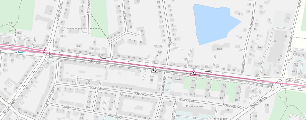 Nyborgvej ensrettes på strækningen mellem Østerbæksvej og Palnatokesvej i to døgn